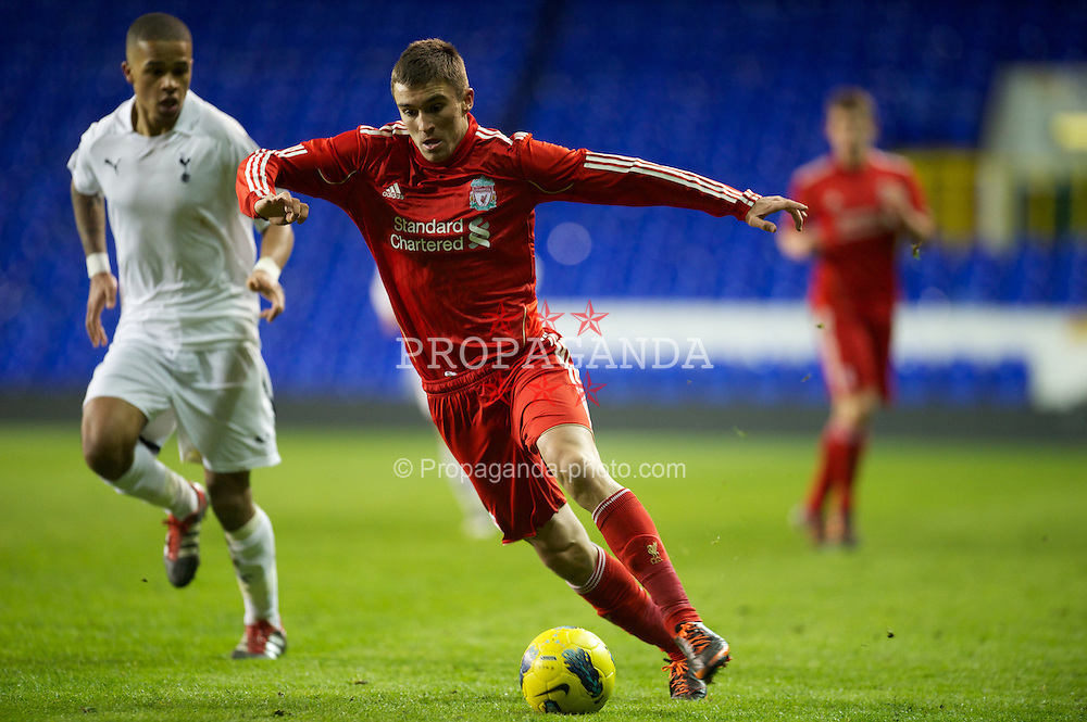 LONDON, ENGLAND - Wednesday, February 1, 2012: Liverpool's Adam Morgan in action against Tottenham Hotspur during the NextGen Series Quarter-Final match at White Hart Lane. (Pic by David Rawcliffe/Propaganda)
