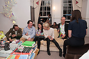 JOE SCOTLAND; ALEXIS TEPLIN;; EMILY KING; DAVID BACHELOR, Valeria Napoleone hosts a dinner at her apartment e to celebrate the publication of her book  Valeria Napoleone's Catalogue of Exquisite Recipes. Palace Green. Kensington. London. 28 September 2012.