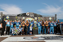 August 12, 2018 - Brooklyn, MI, U.S. - BROOKLYN, MI - AUGUST 12: Monster Energy NASCAR Cup Series driver Kevin Harvick (4) and his team celebrate after winning Monster Energy NASCAR Cup Series Consumers Energy 400 at Michigan International Speedway on August 12, 2018 in Brooklyn, Michigan.(Photo by Adam Lacy/Icon Sportswire) (Credit Image: © Adam Lacy/Icon SMI via ZUMA Press)