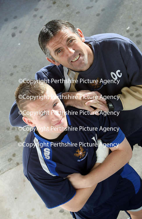 St Johnstone striker Andy Jackson pictured at McDiarmid Park this morning, with manager Owen Coyle, where his excellent start to the season has been rewarded with a new contract.<br /> see story by Gordon Bannerman Tel: 01738 553978 or 07729 865788<br /> Picture by Graeme Hart.<br /> Copyright Perthshire Picture Agency<br /> Tel: 01738 623350  Mobile: 07990 594431