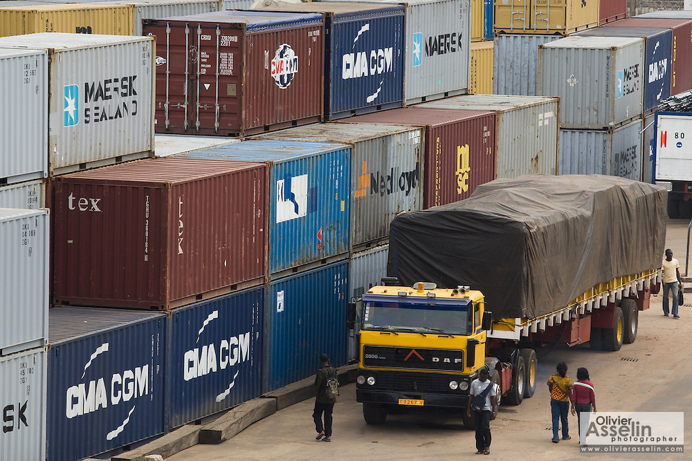 Containers at the sea port in Lome, Togo on Friday October 3, 2008.