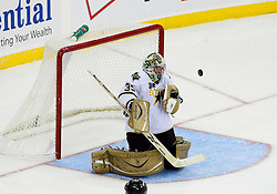 Oct 22, 2008; Newark, NJ, USA; Dallas Stars goalie Marty Turco (35) makes a save during the first period of the Stars game against the New Jersey Devils at the Prudential Center.