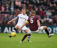 Dundee&rsquo;s Paul McGowan and Hearts&rsquo; Perry Kitchen - Hearts v Dundee, Ladbrokes Scottish Premiership at Tynecastle, Edinburgh. Photo: David Young<br /> <br />  - &copy; David Young - www.davidyoungphoto.co.uk - email: davidyoungphoto@gmail.com