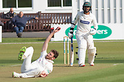 WICKET - Hassan Azad is caught & bowled by Richard Gleeson during the Specsavers County Champ Div 2 match between Leicestershire County Cricket Club and Lancashire County Cricket Club at the Fischer County Ground, Grace Road, Leicester, United Kingdom on 23 September 2019.