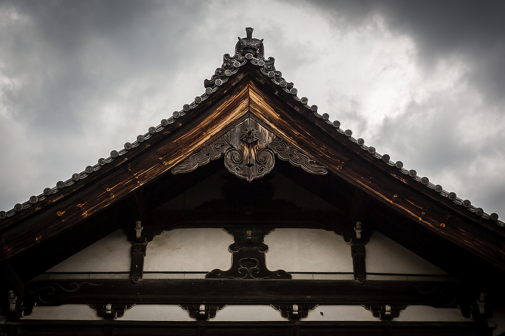 The wooden roof of Kennin-ji Temple's main hall.