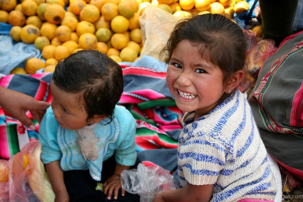 Americas, South America, Peru, Pisac. Market kids.