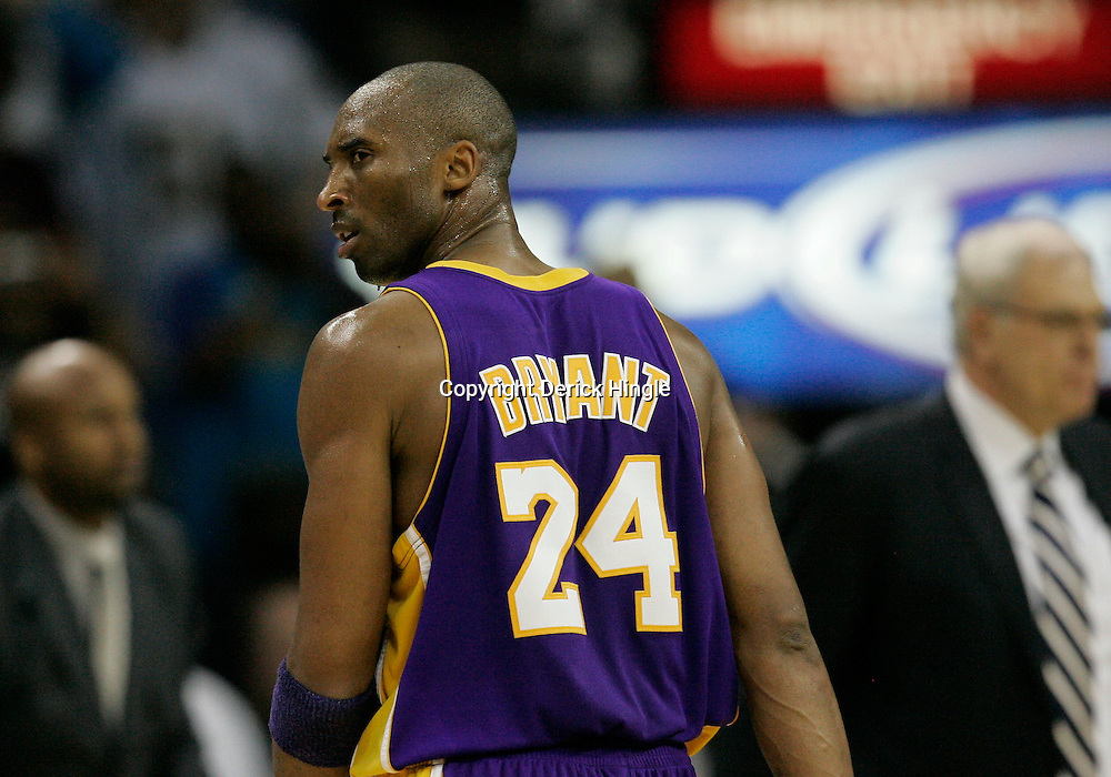 Mar 29, 2010; New Orleans, LA, USA; Los Angeles Lakers guard Kobe Bryant (24) reacts after being called for a foul during the second half against the New Orleans Hornets at the New Orleans Arena. The Hornets defeated the Lakers 108-100. Mandatory Credit: Derick E. Hingle-US PRESSWIRE