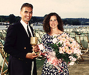 FISA World Cup 1990's, at Lucerne International Regatta, Lake Rotsee, Lucerne SWITZERLAND and Henley Royal Regatta..HRR Diamond Scull Trophy winner,  Men's Single Xeno Muller SUI M1X [left] ,Women's Single Sculler Marnie McBean [right].Both winners of the single sculls event..FISA World cup events Lucerne and HRR Pictures from the first World Cup events, Men's and Women's singles 1990/91 FISA World Cup Lucerne and