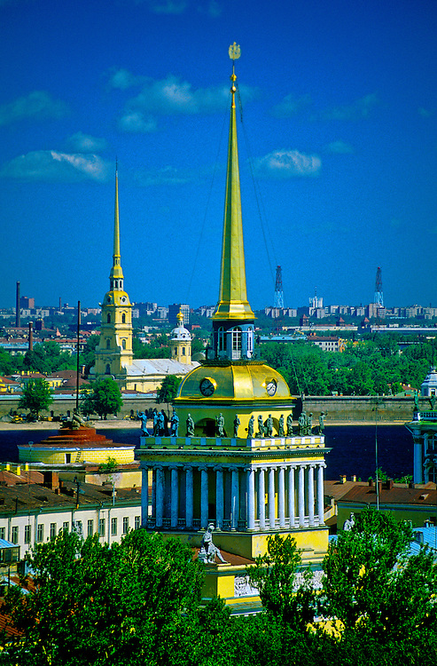 The Admiralty (in front) and Peter and Paul Cathedral (behind), St. Petersburg, Russia