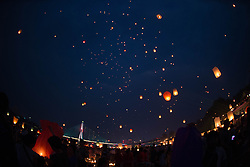 Sky lanterns float up into the air in Jinghong City, southwest China's Yunnan Province, April 13, 2016, to celebrate the new year on the calendar of the Dai ethnic group. EXPA Pictures © 2016, PhotoCredit: EXPA/ Photoshot/ Hu Chao<br /> <br /> *****ATTENTION - for AUT, SLO, CRO, SRB, BIH, MAZ, SUI only*****