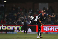 Bryce McGain of the Victorian Bushrangers sends down a delivery during match 13 of the Airtel CLT20 between The Superkings and the Victorian Bushrangers held at St Georges Park in Port Elizabeth on the 18 September 2010..Photo by: Shaun Roy/SPORTZPICS/CLT20