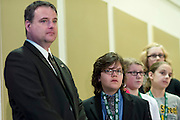 Izak Kaiser of Budd Elementary School, center, waits for Jerry Miller, left to notify him of his turn to spell a word during the Southeast Ohio Regional Spelling Bee Saturday, March 16, 2013. The Regional Spelling Bee was sponsored by Ohio University's Scripps College of Communication and held in Margaret M. Walter Hall on OU's main campus.