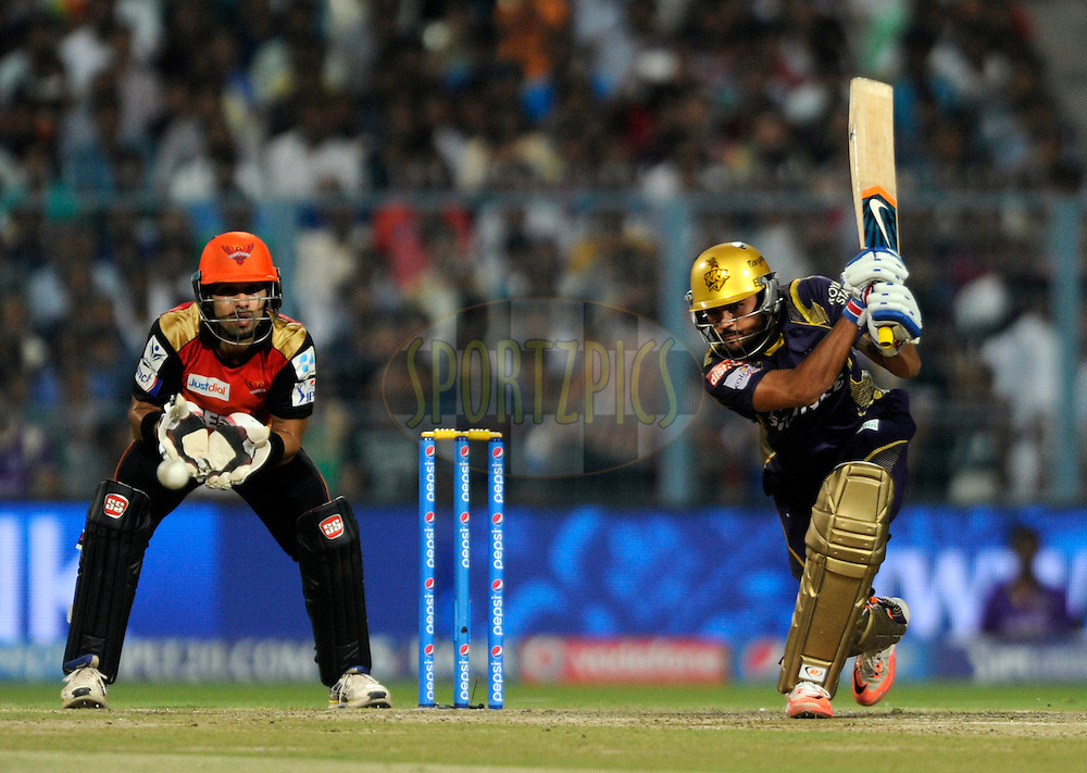 Manish Pandey of Kolkata Knight Riders bats during match 38 of the Pepsi IPL 2015 (Indian Premier League) between The Kolkata Knight Riders and The Sunrisers Hyderabad held at Eden Gardens Stadium in Kolkata, India on the 4th May 2015.<br /> <br /> Photo by:  Pal Pillai / SPORTZPICS / IPL