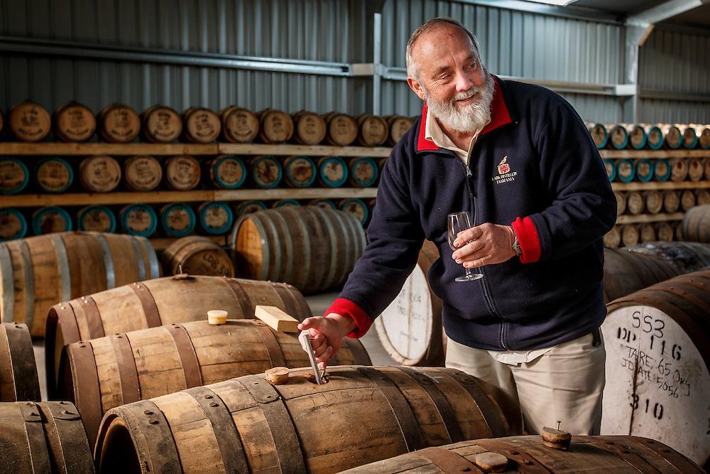 Lark Distillery founder Bill Lark samples whisky at Lark Distillery in Hobart, Tasmania, August 25, 2015. Gary He/DRAMBOX MEDIA LIBRARY