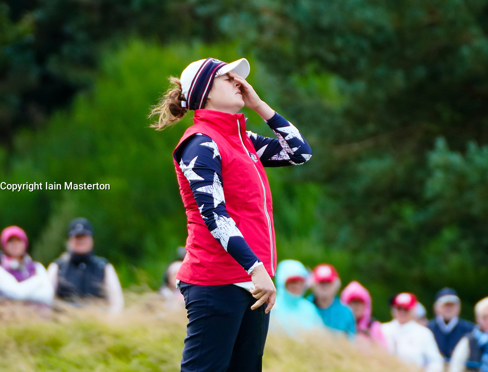 Auchterarder, Scotland, UK. 14 September 2019. Saturday morning Foresomes matches  at 2019 Solheim Cup on Centenary Course at Gleneagles. Pictured; Ally McDonald reacts to missed putt on the 10th green. Iain Masterton/Alamy Live News