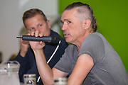 Forest Green Rovers Chairman Dale Vince addresses Forest Green Rovers fans forum at The New Lawn, United Kingdom on 22 September 2017. Photo by Shane Healey.