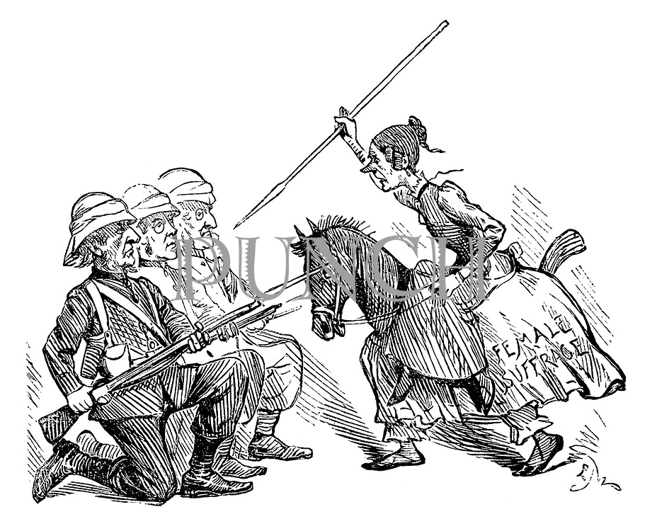 (a Victorian cartoon shows a militant Suffragette wearing a Female Suffrage horse costume attacking Wiiliam Gladstone, and fellow politicians with a spear as they defend with bayonets).