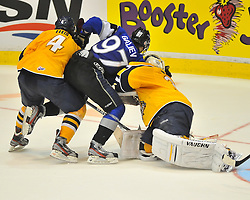 Action from Game 8 of the 2012 MasterCard Memorial Cup between the Shawinigan Cataractes and the Saint John Sea Dogs in Shawinigan, Quebec on Friday May 25, 2012. Photo by Terry Wilson / CHL Images.
