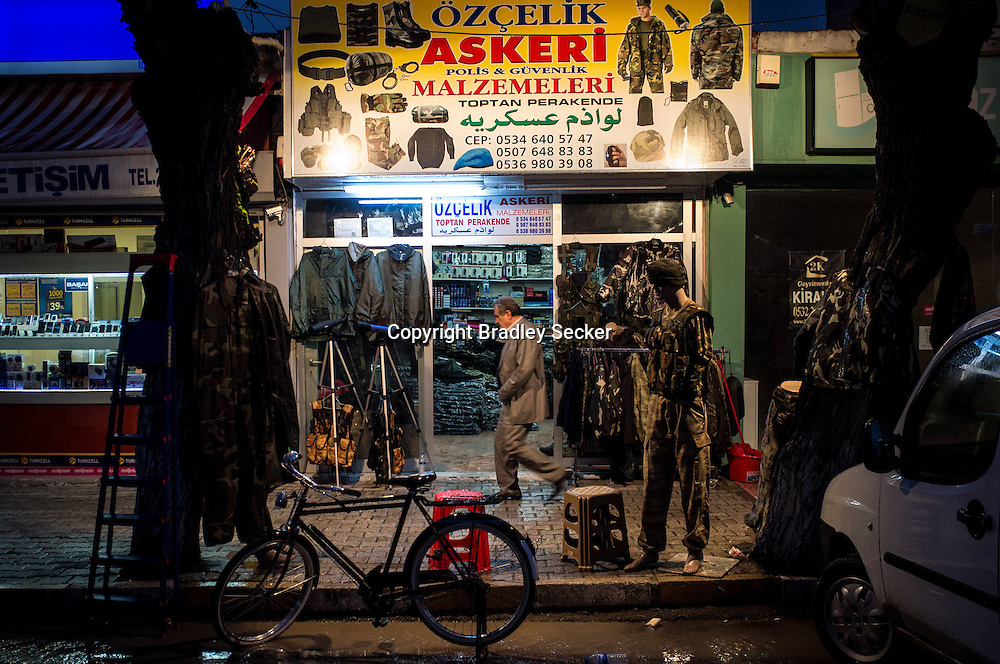 ANTAKYA, TURKEY. JANUARY 23. One of many military supply stores close to Turkey's frontier with Syria. Business is booming for military stores as war rages on 40km away in Syria. Bradley Secker for the Washington Post