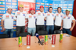 Martin Cater, Stefan Hadalin, Miha Hrobat, Andrej Sporn, Bostjan Kline, Rok Perko and Peter Pen during press conference of Slovenian Men Alpine Ski Team before new season 2016/17, on September 27, 2016 in Generali, Ljubljana, Slovenia. Photo by Vid Ponikvar / Sportida