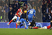 Brighton striker (on loan from Manchester United), James Wilson (21) (inverted) scores during the Sky Bet Championship match between Brighton and Hove Albion and Charlton Athletic at the American Express Community Stadium, Brighton and Hove, England on 5 December 2015. Photo by Geoff Penn.