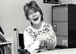 Disabled woman at Portman College - working with disabled people to develop their employability, independence and communication skills. Near Mansfield, UK 1993
