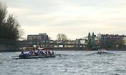Putney, London.  Pre Varsity Boat race fixture. Approaching Hammersmith Bridge, Cambridge maintain their lead, Cambridge UBC [Blue Boat]. vs GBR U23 crew raced over parts of the Championship Course, [Putney to Mortlake].  Race divided into two trials. 1. Start to Hammersmith Pier. 2. Chiswick Eyot to Finish. River Thames. Saturday   26/02/2011 [Mandatory Credit -Karon Phillips/Intersport Images]..Crews:.CAMBRIDGE [Blue Boat] Bow,  Mike THORP, Joel JENNINGS,  Dan RIX-STANDING,  Hardy CUBASCH,  George NASH,  Geoff ROTH , Derek RASMUSSEN, Stroke David NELSON and Cox Tom FIELDMAN..GB Under-23s Bow, Oliver STAITE, Jack CADMAN,  Alex TORBICA, Alex DAVIDSON, Matt TARRANT, Ertan HAZINE,  Mason DURANT,  Stroke Scott DURANT and Cox Max GANDER .