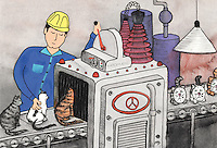 "Illustration showing a conveyor belt of cats being turned into clocks.   A man in a hard hat operates the machine, called a ""Katomatic"".  As the cats pass into the machine, he strokes them.  Emerging from the other end of the machine are clocks with cat faces.  They look happy!"