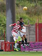 12th August 2017, SuperSeal Stadium, Hamilton, Scotland; SL Football league Hamilton Academicals versus Dundee; Dundee's Darren O'Dea and Hamilton's Steven Boyd battle in the air