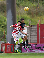 12th August 2017, SuperSeal Stadium, Hamilton, Scotland; SL Football league Hamilton Academicals versus Dundee; Dundee's Darren O'Dea and Hamilton's Steven Boyd battle in the air