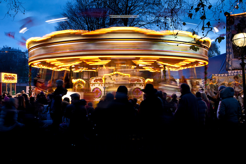 Merry-go-round carousel at Christmas fairground and market, Winter Wonderland, in Hyde Park, London