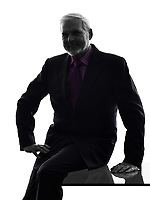 One Caucasian Senior Business Man friendly smiling Silhouette White Background