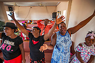Delanie Celus, Dejanie Louisaint, Adeline Pierre and Nadine Gene, left to right, sing gospel music during service at First Beraca Baptist Church in Marsh Harbour on Abaco Island on Sunday, September 8, 2019.