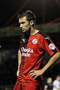 Gwion Edwards takes a breather during the Sky Bet League 2 match between Crawley Town and Portsmouth at the Checkatrade.com Stadium, Crawley, England on 18 August 2015. Photo by Michael Hulf.
