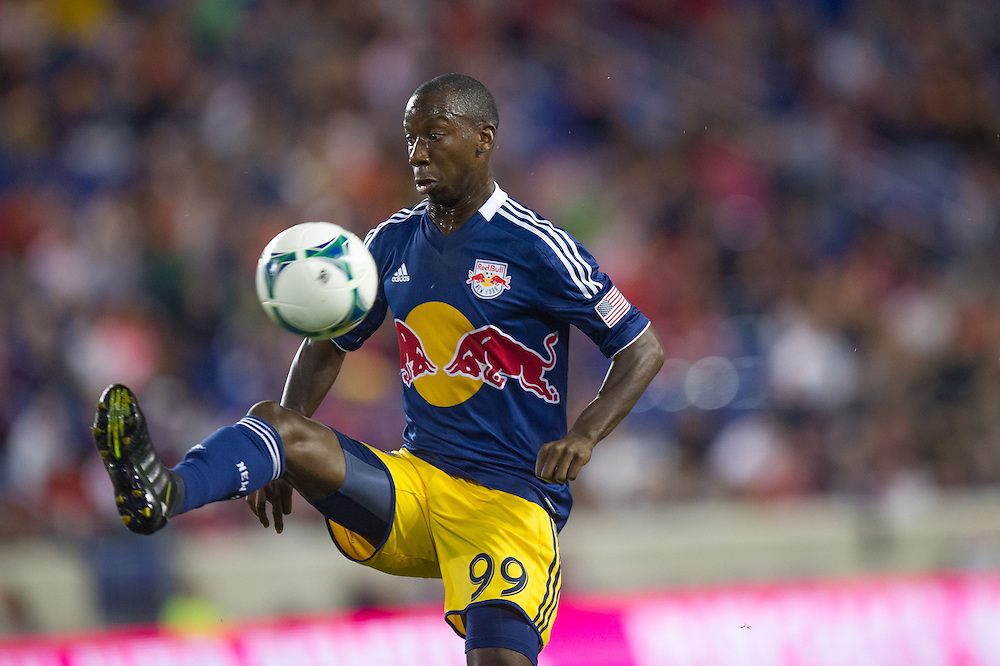 HARRISON, NJ - SEPTEMBER 14:  Bradley Wright-Phillips #99 of New York Red Bulls in action during the game against the Toronto FC at Red Bulls Arena on September 14, 2013. (Photo By: Rob Tringali)