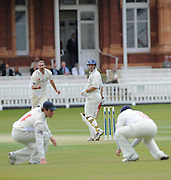 London GREAT BRITAIN, Middlesexs' Andrew STRAUSS, look's back, as Robert CROFT, attempts to catch his shot, in the slips, during the LV. County Championship Cricket match, Middlesex vs Glamorgan, Lord's Cricket Ground, St John's Wood, 23.04.2008 [Mandatory Credit Peter Spurrier/Intersport Images]