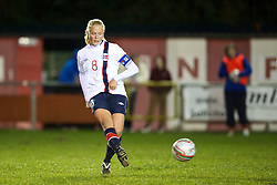 NEWTOWN, WALES - Friday, February 1, 2013: Norway's Guro Bergsvand in action against Wales during the Women's Under-19 International Friendly match at Latham Park. (Pic by David Rawcliffe/Propaganda)