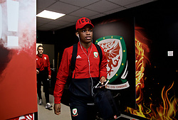 WREXHAM, WALES - Wednesday, March 20, 2019: Wales' Rabbi Matondo arrives before an international friendly match between Wales and Trinidad and Tobago at the Racecourse Ground. (Pic by David Rawcliffe/Propaganda)
