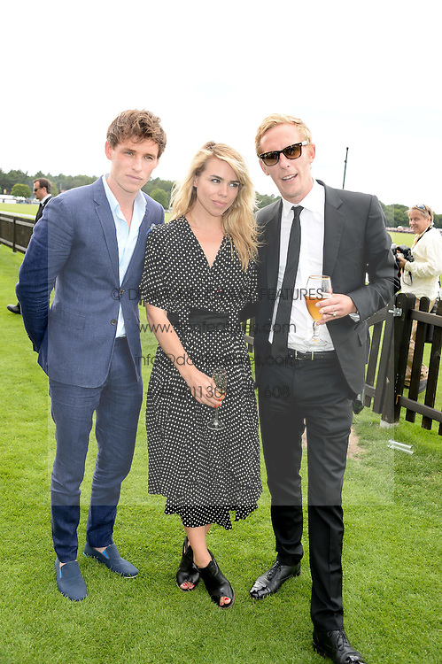 EDDIE REDMAYNE, BILLIE PIPER and LAURENCE FOX at the Audi International Polo at Guards Polo Windsor Great Park, Egham, Surrey on 28th July 2013.
