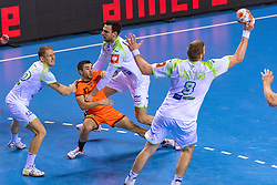 11-04-2019 NED: Netherlands - Slovenia, Almere<br /> Third match 2020 men European Championship Qualifiers in Topsportcentrum in Almere. Slovenia win 26-27 / Iso Sluijters #11 of Netherlands, Tilen Kodrin #20 of Slovenia, Luc Steins #12 of Netherlands, Blaz Blagotinsek #3 of Slovenia
