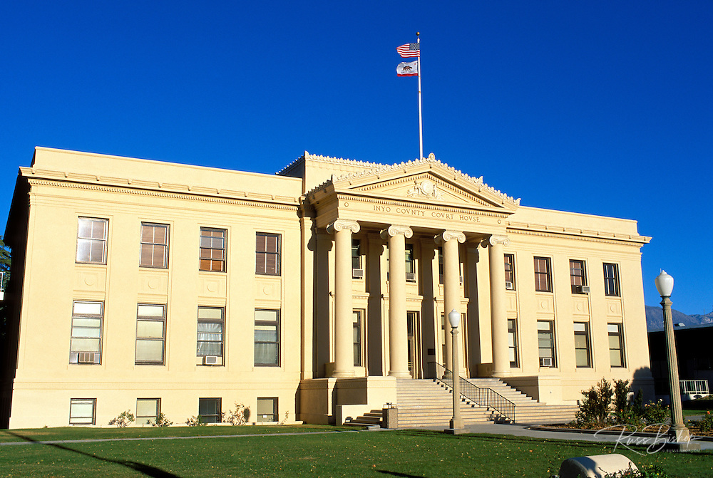 Evening light on the Inyo County Courthouse, Independence, California.
