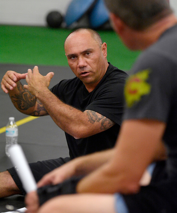 gbs090717a/ASEC -- Jason Garcia of Albuquerque talks to counselor Tim Allen during Addict2Athlete fitness/therapy program for recovering addicts on Thursday, September 7, 2017. (Greg Sorber/Albuquerque Journal)