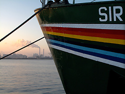 NETHERLANDS AMSTERDAM 02JAN09 - Greenpeace ship Sirius lies moored near the coal-fired power station at the NDSM wharf in Amsterdam...jre/Photo by Jiri Rezac