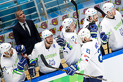 Players of Slovenia celebrate after Andrej Hebar of Slovenia scoring a goal during ice hockey match between Hunngary and Kazakhstan at IIHF World Championship DIV. I Group A Kazakhstan 2019, on May 3, 2019 in Barys Arena, Nur-Sultan, Kazakhstan. Photo by Matic Klansek Velej / Sportida