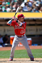OAKLAND, CA - JUNE 21:  Daniel Robertson #44 of the Los Angeles Angels of Anaheim at bat against the Oakland Athletics during the seventh inning at O.co Coliseum on June 21, 2015 in Oakland, California. The Oakland Athletics defeated the Los Angeles Angels of Anaheim 3-2. (Photo by Jason O. Watson/Getty Images) *** Local Caption *** Daniel Robertson