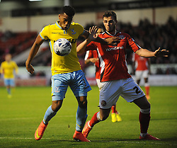 Crystal Palace's Adrian Mariappa is challenged by Walsall's Liam Kinsella - Photo mandatory by-line: Dougie Allward/JMP - Mobile: 07966 386802 26/08/2014 - SPORT - FOOTBALL - Walsall - Bescot Stadium - Walsall v Crystal Palace - Capital One Cup