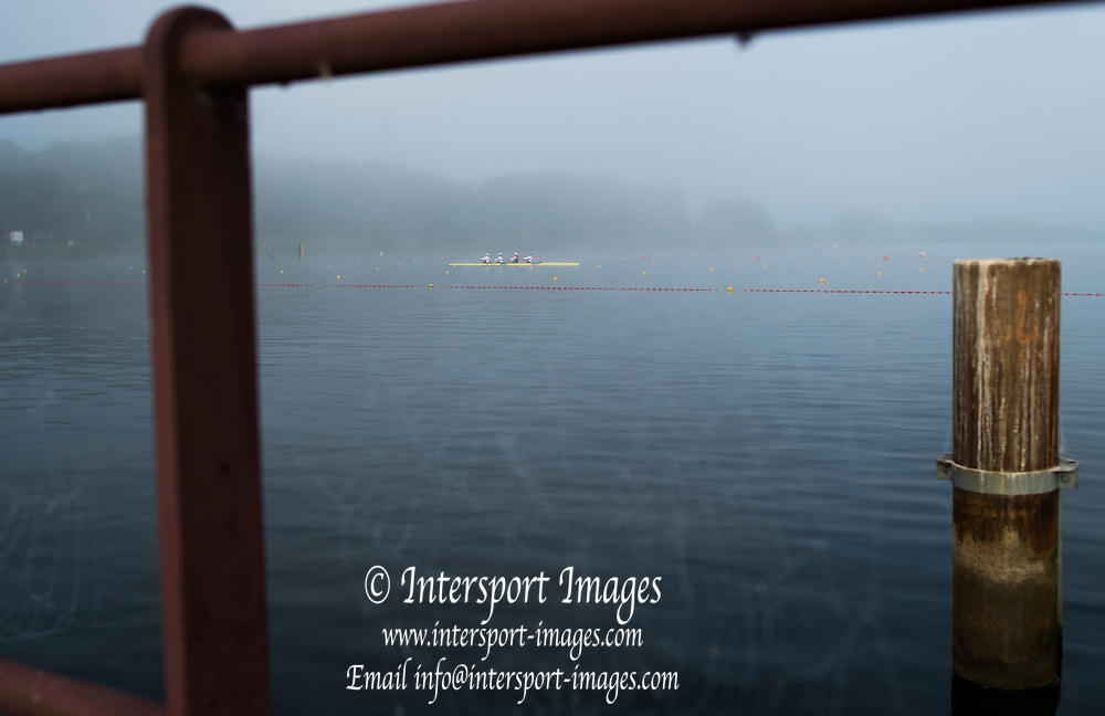 Hamburg. GERMANY.   Friday, Foggy Misty and Atmospheric condition, Four through a spiders web. 2014 FISA Junior World rowing. Championships.  08:11:49  Friday  08/08/2014  [Mandatory Credit; Peter Spurrier/Intersport-images]