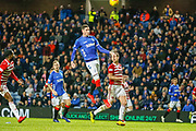 Kyle Lafferty of Rangers fires a chance over the bar late in the 2nd half during the Ladbrokes Scottish Premiership match between Rangers and Hamilton Academical FC at Ibrox, Glasgow, Scotland on 16 December 2018.