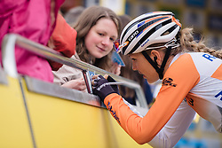 Shara Gillow (Rabo Liv) on autograph duties at Aviva Women's Tour 2016 - Stage 4. A 119.2 km road race from Nottingham to Stoke-on-Trent, UK on June 18th 2016.