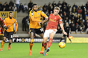 Nottingham Forest midfielder Ben Osborn and Wolverhampton Wanderers defender Dominic Iorfa during the Sky Bet Championship match between Wolverhampton Wanderers and Nottingham Forest at Molineux, Wolverhampton, England on 11 December 2015. Photo by Alan Franklin.